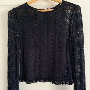 All Saints Black Lace Blouse